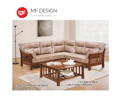 MF DESIGN  Vincent Wooden L-Shaoe Sofa with Cushion - Free Coffee Table [Full Rubber Wood] [Fabric Upholstery]